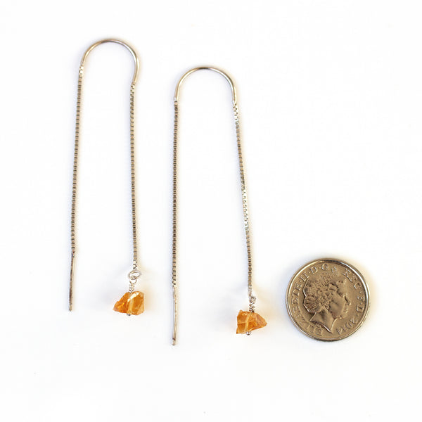 citrine threaders next to 5p coin