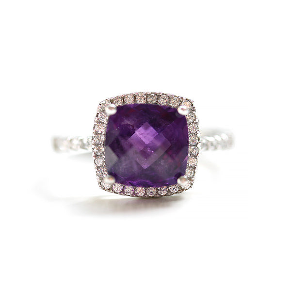 Cushion Cut Amethyst Halo Ring