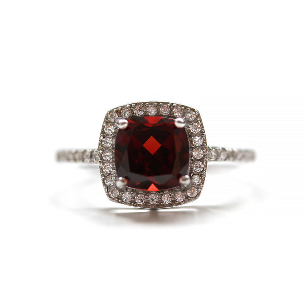 Cushion Cut Garnet Halo Ring Sterling Silver