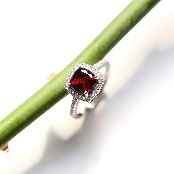 Cushion Cut Garnet Halo Ring