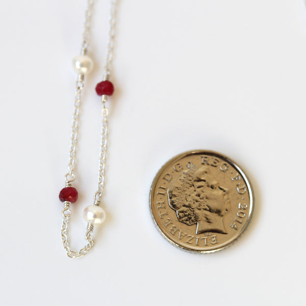 dainty silver necklace ruby pearl