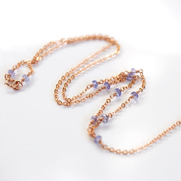 dainty tanzanite necklace rose gold