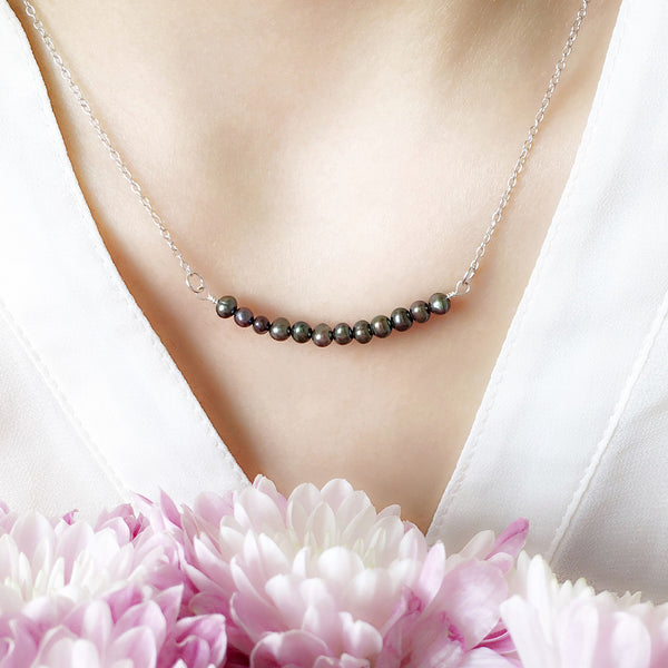 Minimalist Black Pearl Necklace