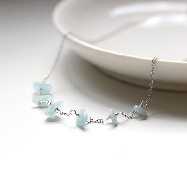 Delicate Blue Aquamarine Necklace