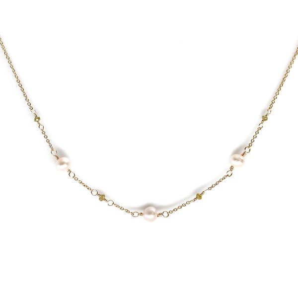 Delicate Pearl and Yellow Diamond Necklace