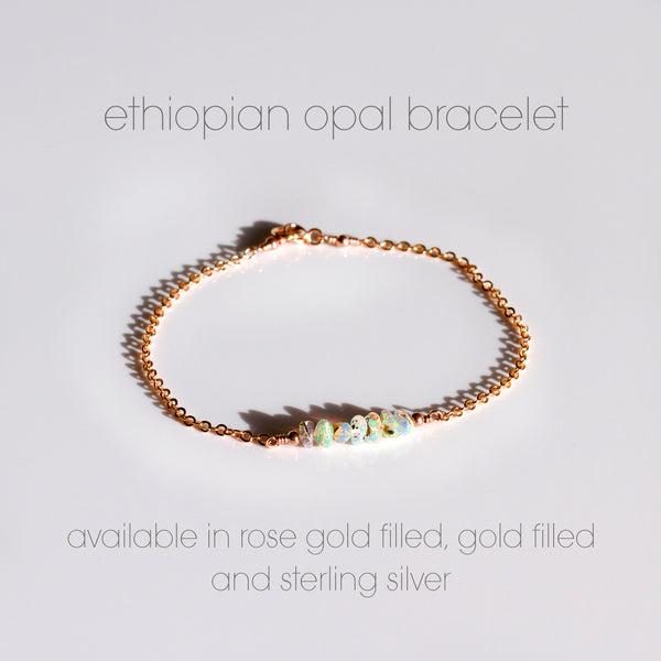 ethiopian opal bracelet rose gold filled