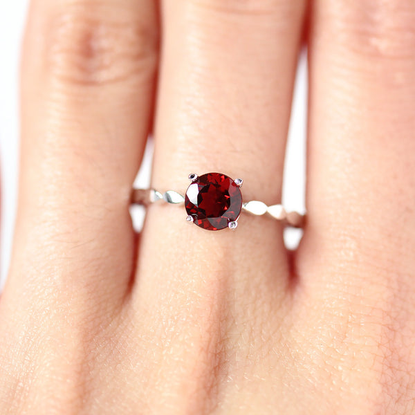 Garnet Promise Ring in Sterling Silver