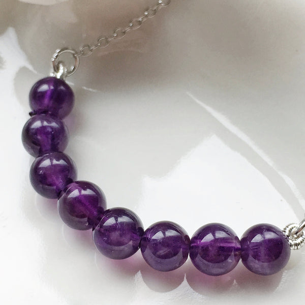 Genuine Amethyst Necklace Silver
