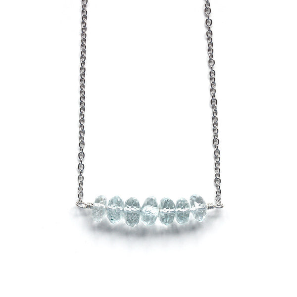 Genuine Blue Aquamarine Necklace