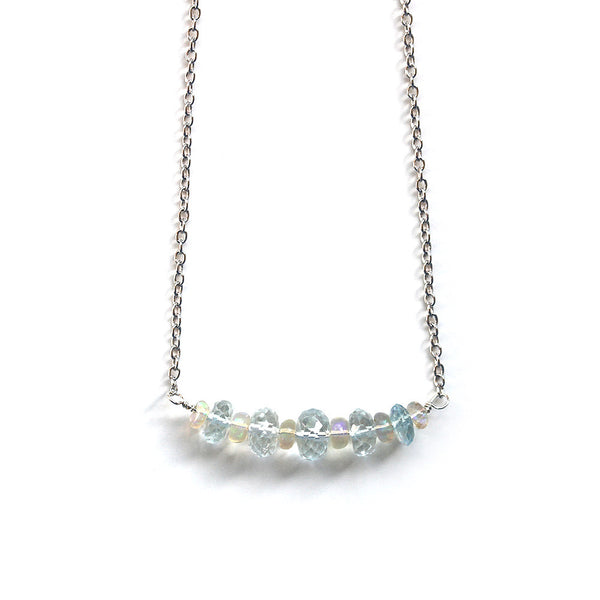 Genuine Blue Aquamarine Opal Necklace