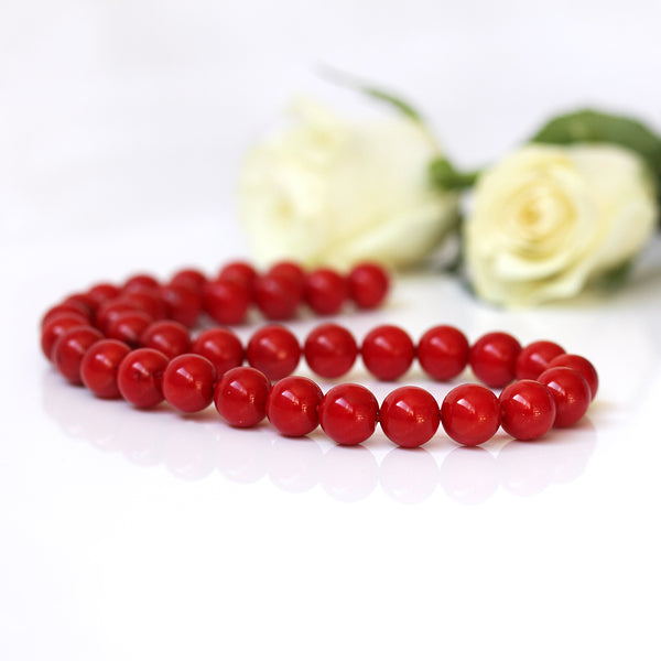 genuine coral necklace red