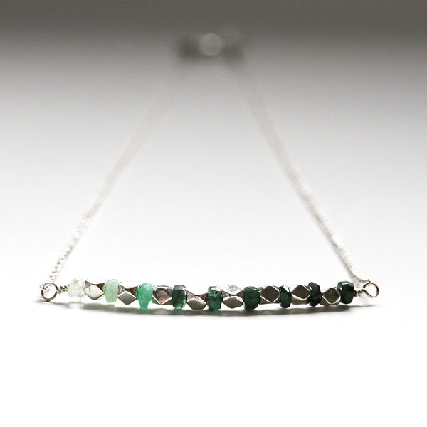 Genuine Emerald Necklace Silver