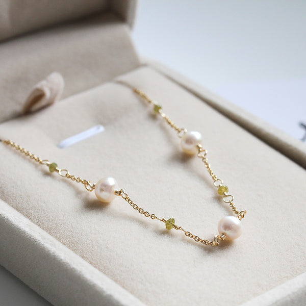 Genuine Pearl and Diamond Necklace