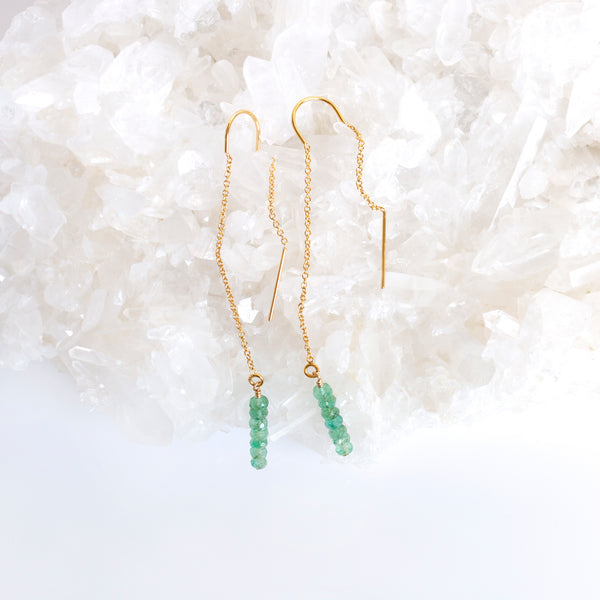 gold emerald earrings threaders