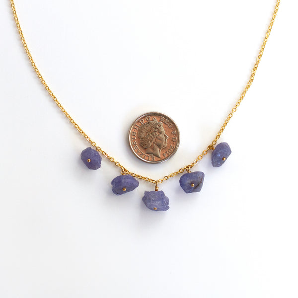 gold tanzanite necklace pearlberry