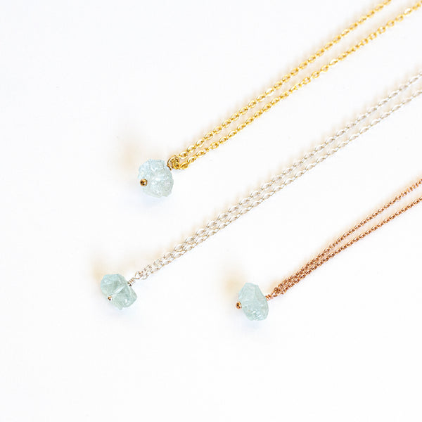 gold silver rose gold aquamarine jewellery