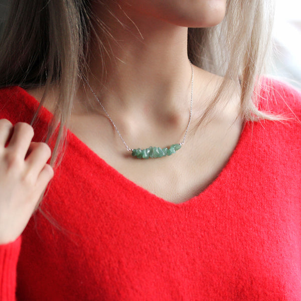 green aventurine necklace silver