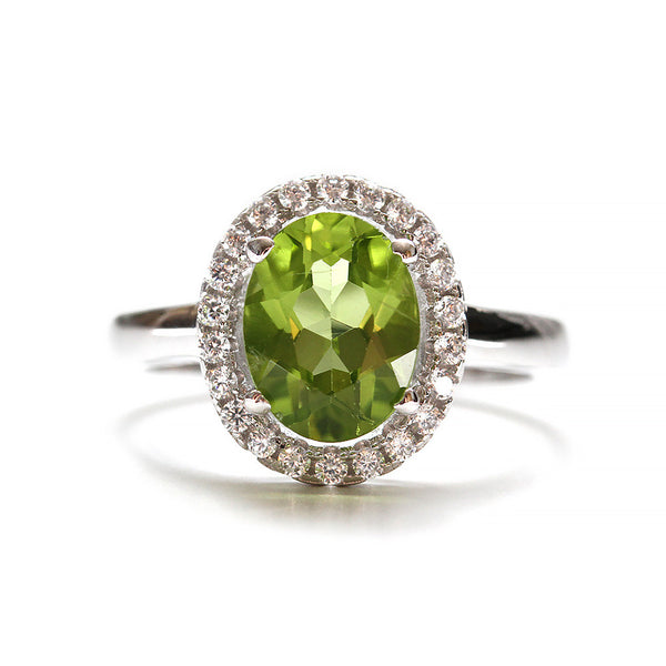 Green Peridot Halo Ring