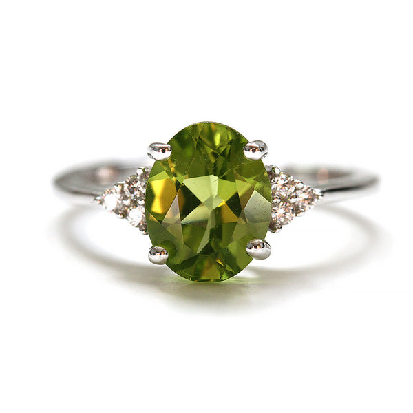 Green Peridot Ring, Sterling Silver