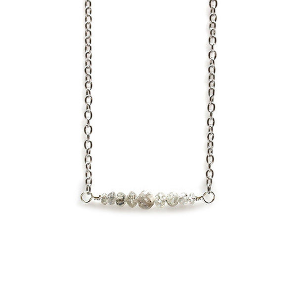 Grey Diamond Necklace Silver