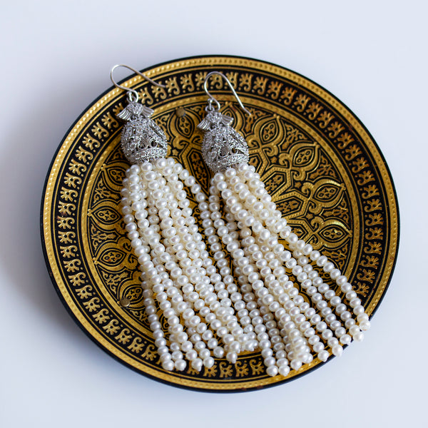handcrafted in britain pearl tassel earrings