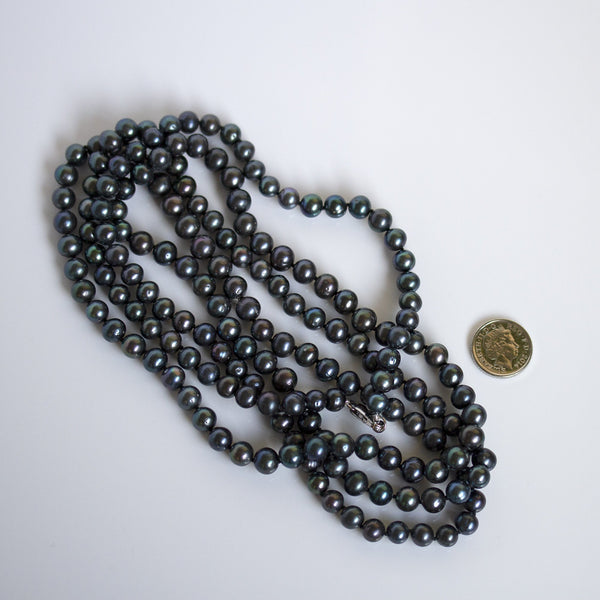handmade black pearl necklace long