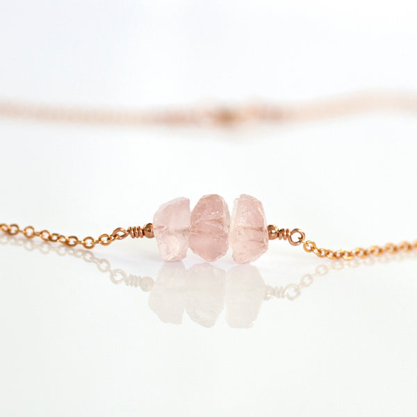 handmade rose quartz necklace gold