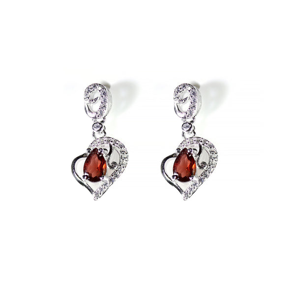 Heart Earrings Garnet Sterling Silver