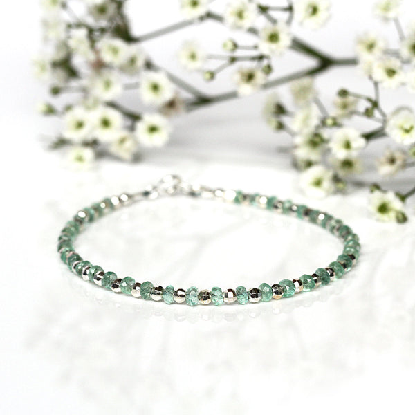 Genuine Colombian Emerald Bracelet, Natural Light Green Emerald Bangle, Sterling Silver Dainty Jewelry, May Birthstone, Gift for Wife