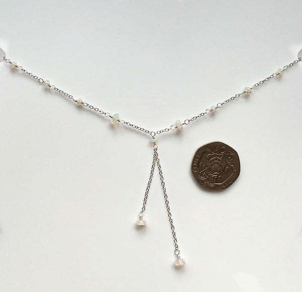 delicate silver opal necklace