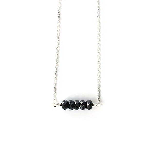 Black Sapphire Necklace, Genuine Natural Sapphire Jewelry, 925 Sterling Silver, Minimal Choker Necklace, September Birthstone, Gift for Her