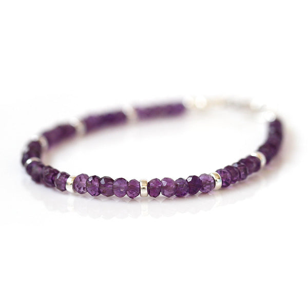 Genuine Amethyst Bracelet, Beaded Purple Quartz Bracelet, 925 Sterling Silver Jewelry, February Birthstone, Delicate Stacking Bracelet
