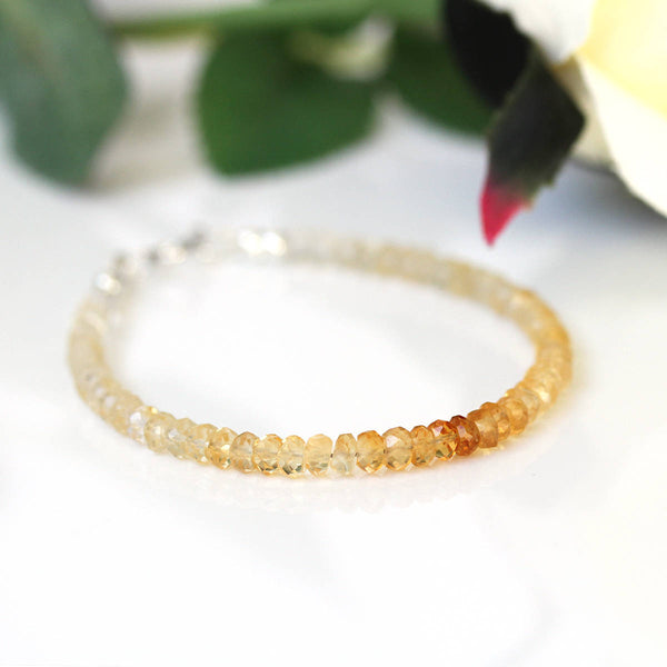 Ombre Citrine Bracelet, Genuine Yellow Quartz Beads, 925 Sterling Silver, Thin Dainty & Delicate Bracelet, Gift for Her, November Birthstone
