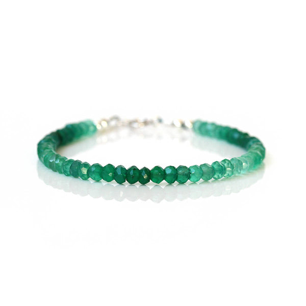 Ombre Green Onyx Bracelet, Genuine Green Gemstone Beads, 925 Sterling Silver, Thin Dainty & Delicate Bracelet, Gift for Her