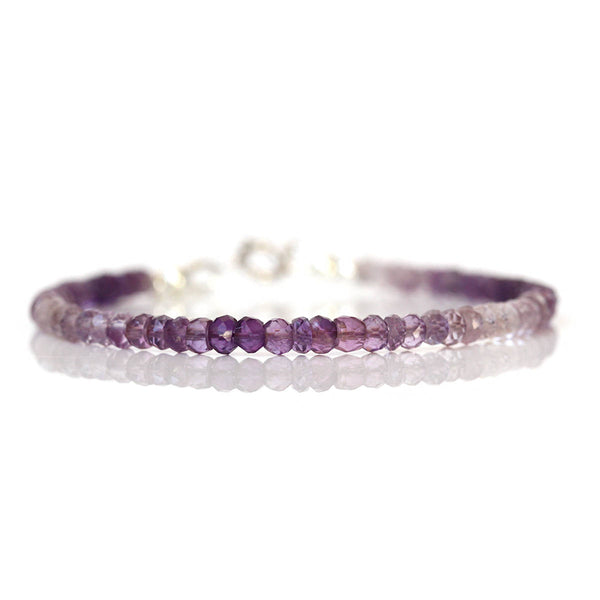 Ombre Amethyst Bracelet, Genuine Purple Quartz Beads, 925 Sterling Silver, Minimal Modern Bracelet, Gift for Girlfriend, February Birthstone