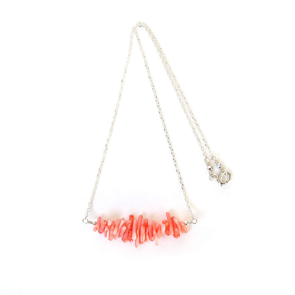 Pink Coral Stick Necklace