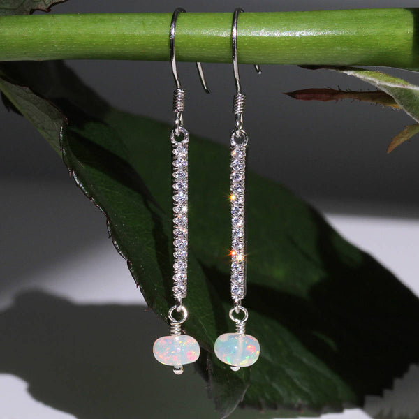 cubic zirconia  opal earrings