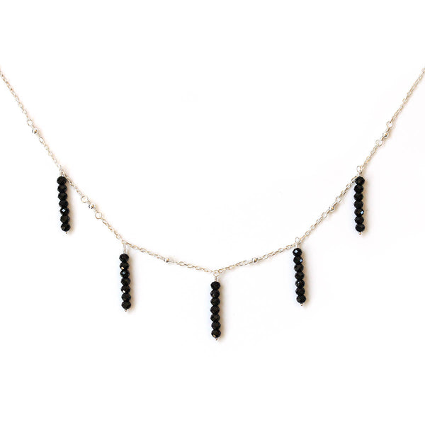 vertical black gemstone bar necklace