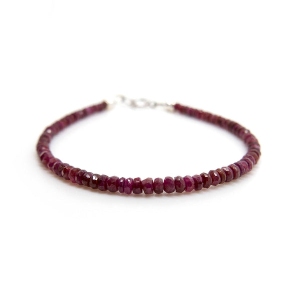Natural Ruby Bracelet, Thin & Dainty Beaded Ruby Bracelet, Red Gemstone Jewelry, Genuine African Ruby, 40th Wedding Anniversary Gift for Her
