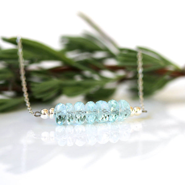 modern pastel blue gemstone necklace
