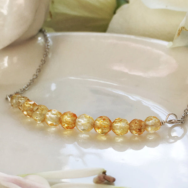 Minimalist Citrine Bar Necklace