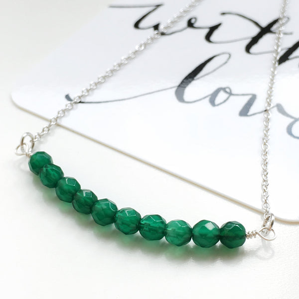 minimalist green agate silver necklace