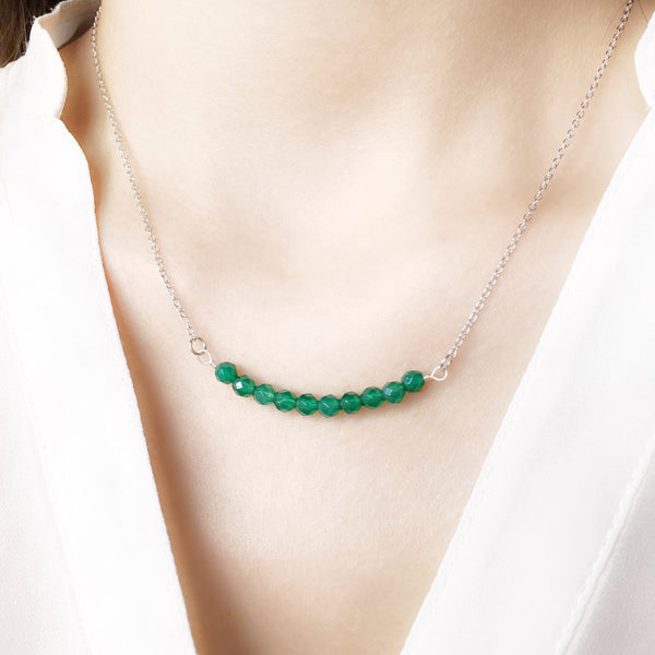 green semi precious gemstone sterling silver necklace