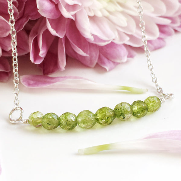Delicate Peridot Bar Necklace