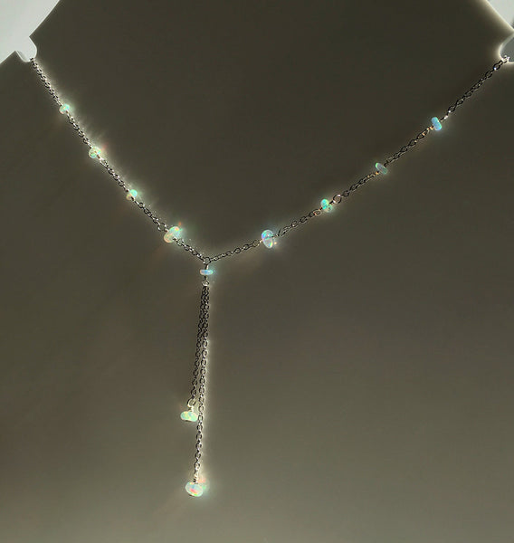 ethiopian opal lariat necklace