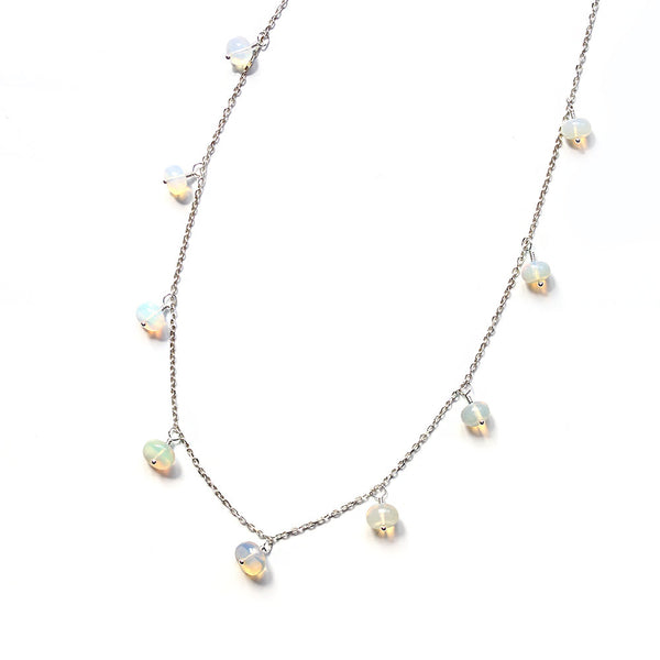 silver opal necklace