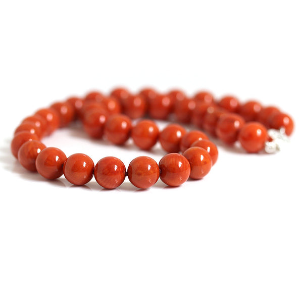 Large Orange Red Coral Necklace