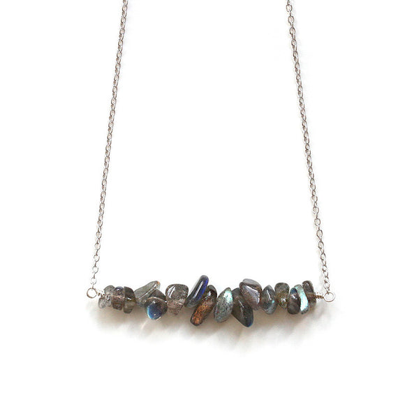 Labradorite Bar Necklace, Silver