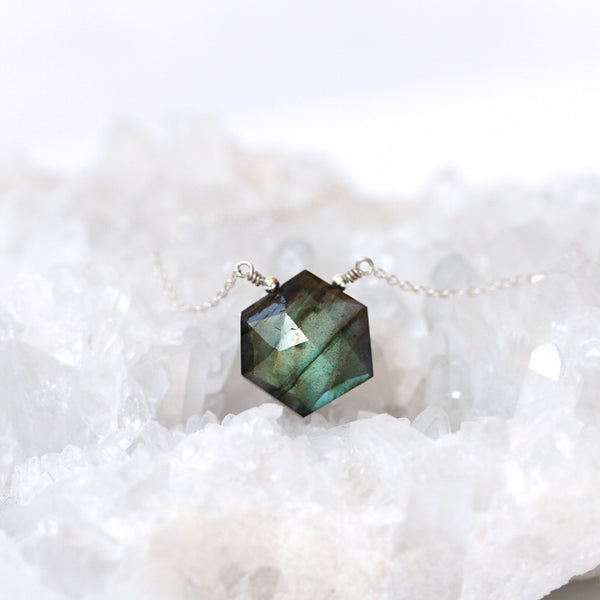 labradorite hexagon necklace