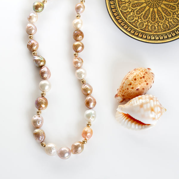 large baroque pastel pearl necklace